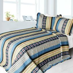 Cotton 3PC Vermicelli-Quilted Striped Printed Quilt Set