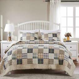 country cabin plaid quilt set tan denim