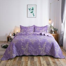 Kasentex Cozy Ultra Soft Microfiber Quilt Set. Purple Floral