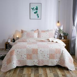 Kasentex Country-Chic Printed Pre-Washed Quilt Set. Microfib