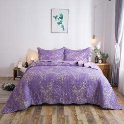 Kasentex Cozy Ultra Soft Microfiber Quilt Set. Purple Floral