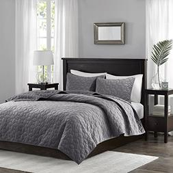 Madison Park Harper Velvet King/Cal King Size Quilt Bedding