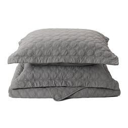"Bedsure Gray Quilt Set-Full Queen Size Bedspread 90""x96"" -3"