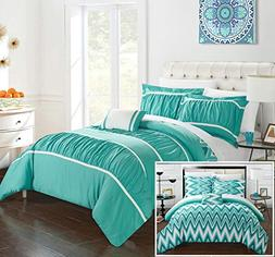 Chic Home CS2589-AN 4 Piece Bella Pleated & Ruffled With Che