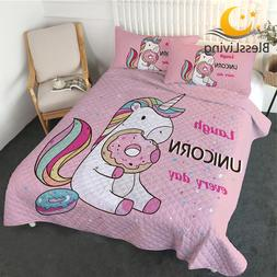 BlessLiving Cute Unicorn Coverlet <font><b>Set</b></font> Q