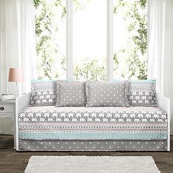 Lush Decor Elephant Stripe 6 Piece Daybed Cover Bedding Set