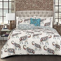 Lush Decor Lush Décor Hati Elephants 5 Piece Quilt Set, Ful