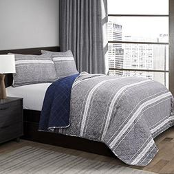 Lush Decor Lush Décor Martlon Stripe 3 Piece Quilt Set, Ful