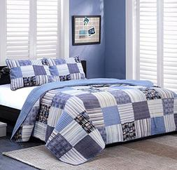 Cozy Line Home Fashions Daniel Denim Navy/Blue/White/Black P