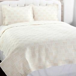 darcy embroidered three piece quilt set in