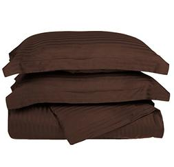 3 Piece Dark Brown Rugby Stripes Duvet Cover King/Cal King S