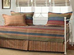 Daybed 5 Piece Quilt Set Lodge Western Country Katy Stripe B