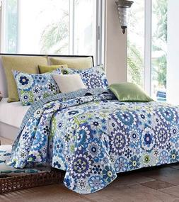 Debra Valencia Fiori Blue Quilt & Sham Set