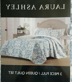 Laura Ashley Delancy Reversible 3-Piece Queen Cotton Quilt S