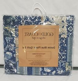 Gold Coast Denim Blue Floral Quilt Set - Twin Size 2 piece S
