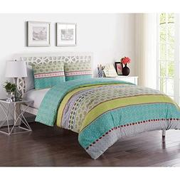 VCNY Home DH4-3DV-Fuqu-in-MU Duvet Cover Set, Full/Queen, Mu