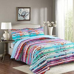 Disperse Printing Quilt Set King Size -3PCS Bedspread -Light
