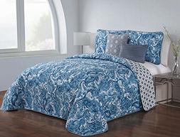 Avondale Manor Dominica 5-Piece Quilt Set, King, Blue