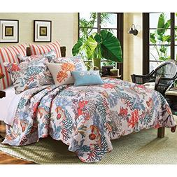 5 Piece Dreamy Atlantis Themed Reversible Quilt Set Full/Que