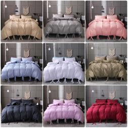 Duvet Cover Comforter Set Quilt Solid Tie Strap Pillowcase T