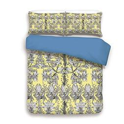 iPrint Duvet Cover Set,Blue Back,Grey and Yellow,Ethnic Trib