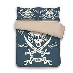 iPrint Duvet Cover Set,Back of Khaki,Pirate,Shark Cove Tortu