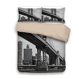 iPrint Duvet Cover Set,Back of Khaki,New York,Bridge of NYC