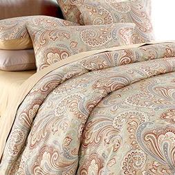 Duvet Cover Set 3Pcs 100% Cotton Paisley Bedding Set 800 Thr