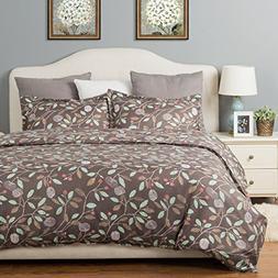 Duvet Cover Set with Zipper Closure Blanck Printed Blossom P