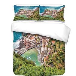 3Pcs Duvet Cover Set,Coastal Decor,View of Vernezza Famous F