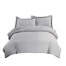 Bedsure Duvet Cover Set with Zipper Closure Solid Grey Twin