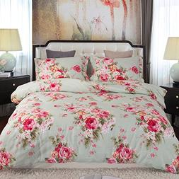 Duvet Cover, Style Bedding 100% Cotton Comfy Floral Flower P