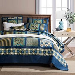 Tache Home Fashion Elegant Striped Forest Patchwork Quilted