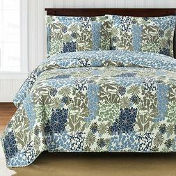 Elena Oversized Coverlet Set Luxury Microfiber Printed Quilt