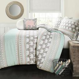 Lush Decor Elephant Stripe 4 Piece Comforter Set, Full/Queen