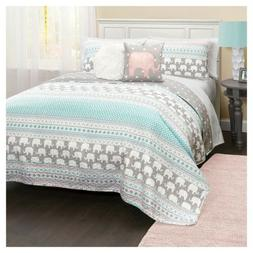 Lush Decor Elephant Stripe Quilt 5Pc Set - Full/Queen - Turq
