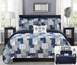 Chic Home Eliana 8 Piece Reversible Quilt Coverlet Set Embos
