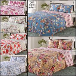 Elisa - 3 Piece Reversible Quilt Set and shams Floral.