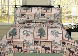 HowPlum Elk Bear Rustic Mountain Lodge Cabin Full Quilt 7 Pi