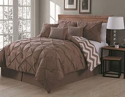 Avondale Manor Ella 7 Piece Comforter Set, King, Clay/Dark T