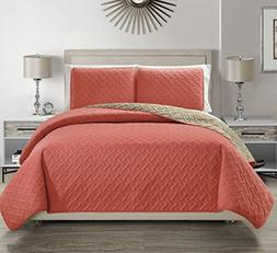 Embossed Coral Reversible Bedspread/Quilt Set Cal King