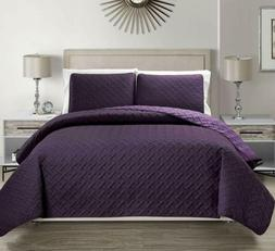 Kinglinen Embossed Purple Reversible Bedspread/Quilt Set Que