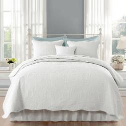 Embossed Flower Bedspread Quilt Set Coverlet 3-Piece Bed Cov