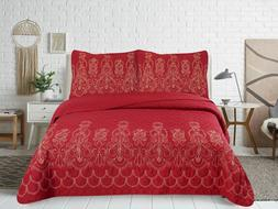 Embroidered Cotton Blend Soft Reversible Bedding Bedspread Q