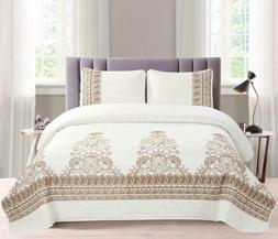 Royal Embroidery Luxury Lightweight Modern Quilt Set - 3 Pie