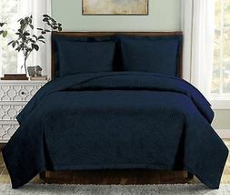 Emerson Printed Quilt Coverlet Set Bedspread All Size Navy O