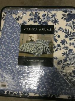 Laura Ashley Emery Reversible 3-Piece King-Size Cotton Quilt