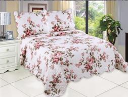 English Roses Bedding Quilt Bedspread Coverlet 3 PC Reversib
