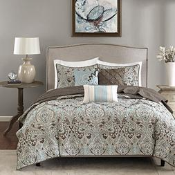 6 Piece Exotic Paisley Medallion Motif Quilted Coverlet Set