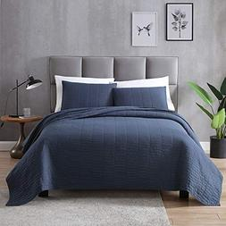 EXQ Home Quilt Set Full/Queen Size Navy 3 Piece,Lightweight